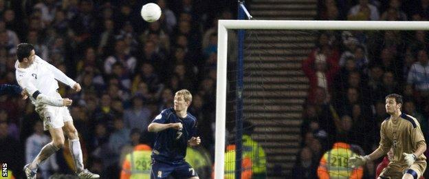 Christian Panucci scores for Italy against Scotland in 2007