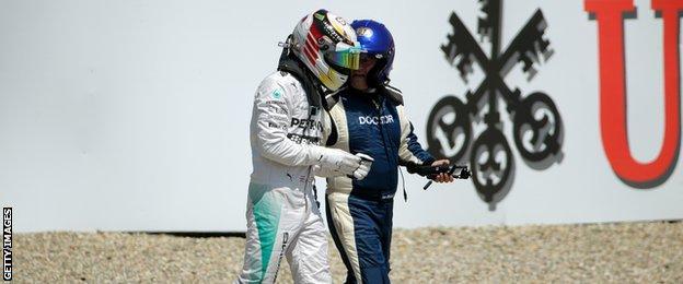 Lewis Hamilton crashes during the German Grand prix