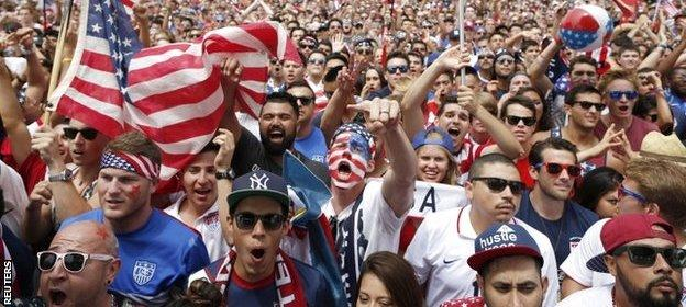 USA fans during World Cup 2014