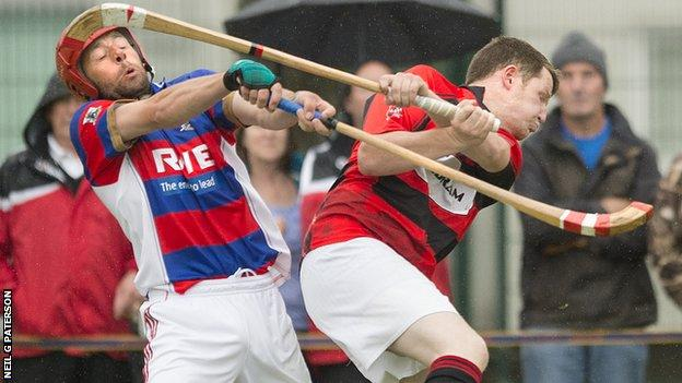 Glenurquhart and Kingussie players battle for possession