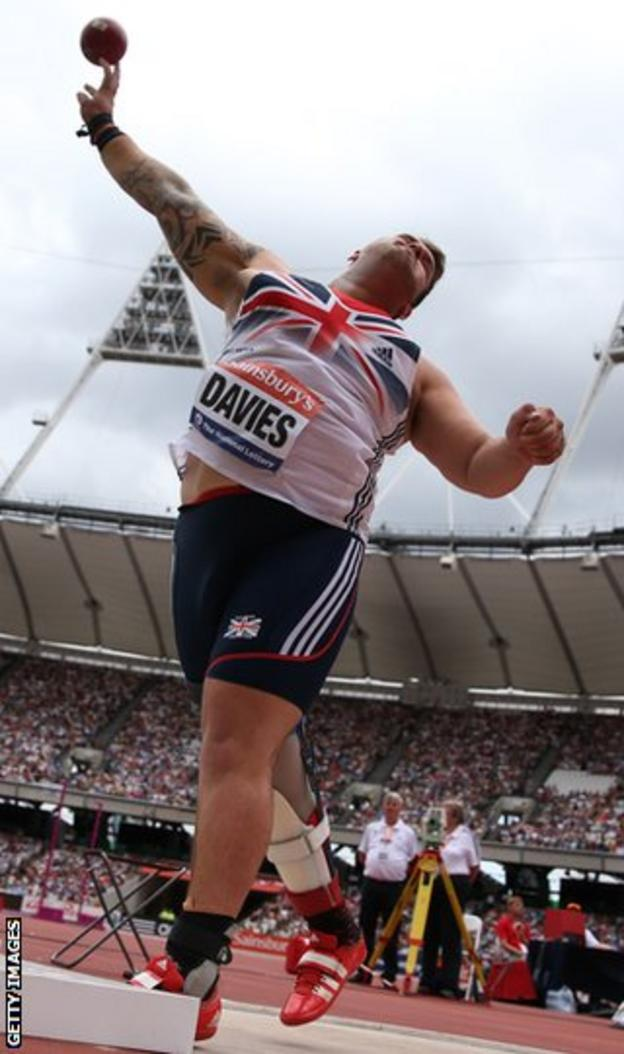 Davies won discus gold and shot put bronze at the London Paralympics
