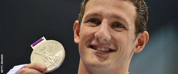 Michael Jamieson shows off his Olympic silver medal