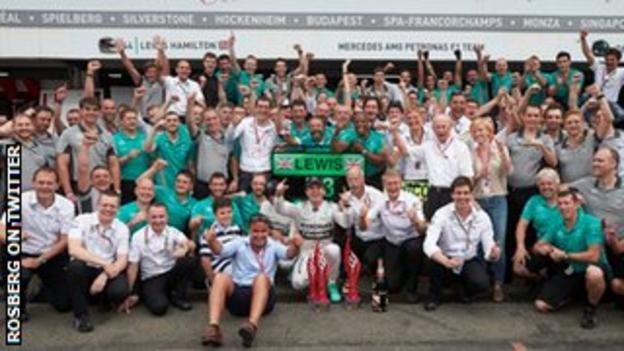 Nico Rosberg celebrates his German GP win