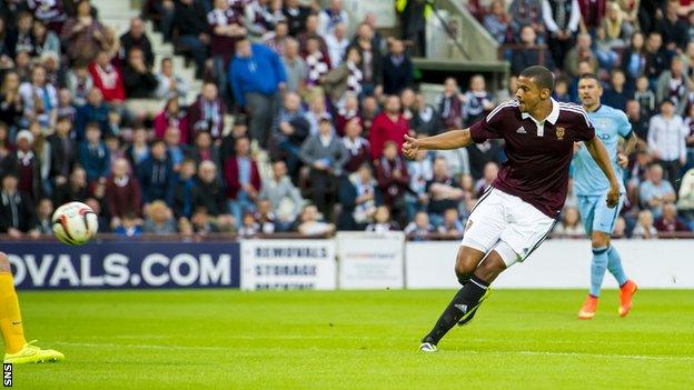Osman Sow scores for Hearts against Manchester City