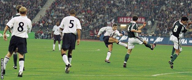 Steven Gerrard scores for England against Germany