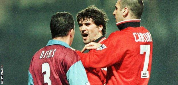 Julian Dicks of West Ham in row with Eric Cantona and Roy Keane of Man Utd