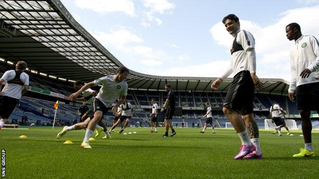 Celtic get a feel for the new surface at Murrayfield Stadium - home of Scottish rugby