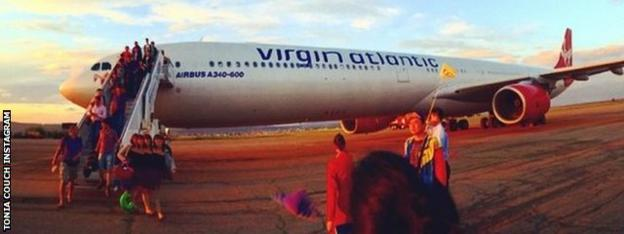 The plane after landing in Russia
