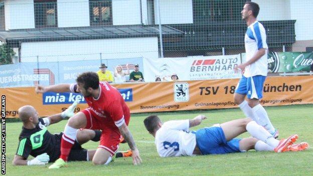 Adam Le Fondre scores his first goal for Cardiff City against Albanian side KS Teuta Durres