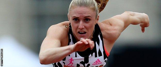 Sally Pearson in action at the Diamond League meeting Glasgow