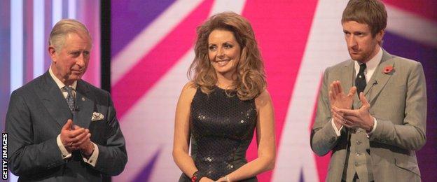 Prince Charles, Carol Vorderman and Bradley Wiggins attend the Pride of Britain awards in October 2012