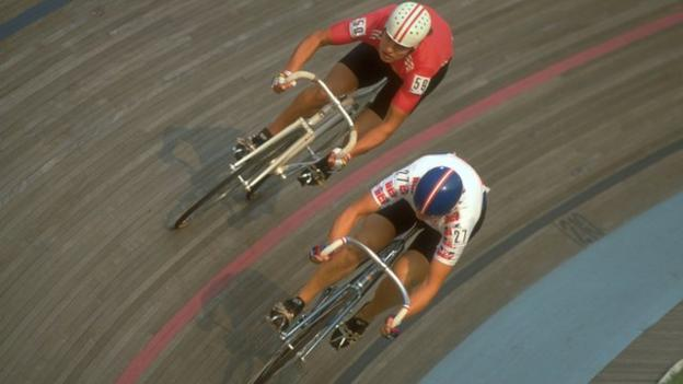 Louise Jones (right) competing at the 1990 Olympics