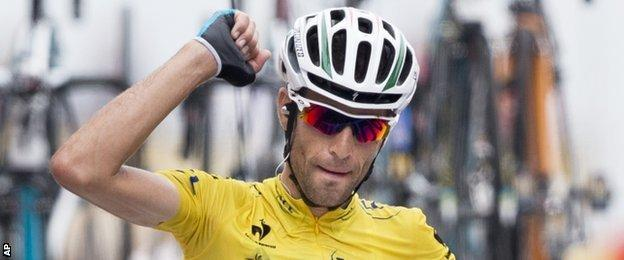 Vincenzo Nibali celebrates as he crosses the line for his fourth stage win of this year's Tour