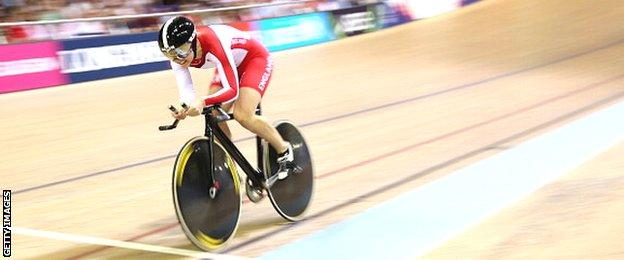 England's Jess Varnish competes in the women's 500m time trial
