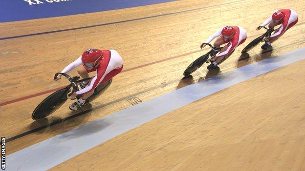 England trio Kian Emadi, Philip Hindes and Jason Kenny compete in the men's team sprint