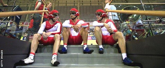 Kian Emadi, Jason Kenny and Philip Hindes of England before the team sprint final