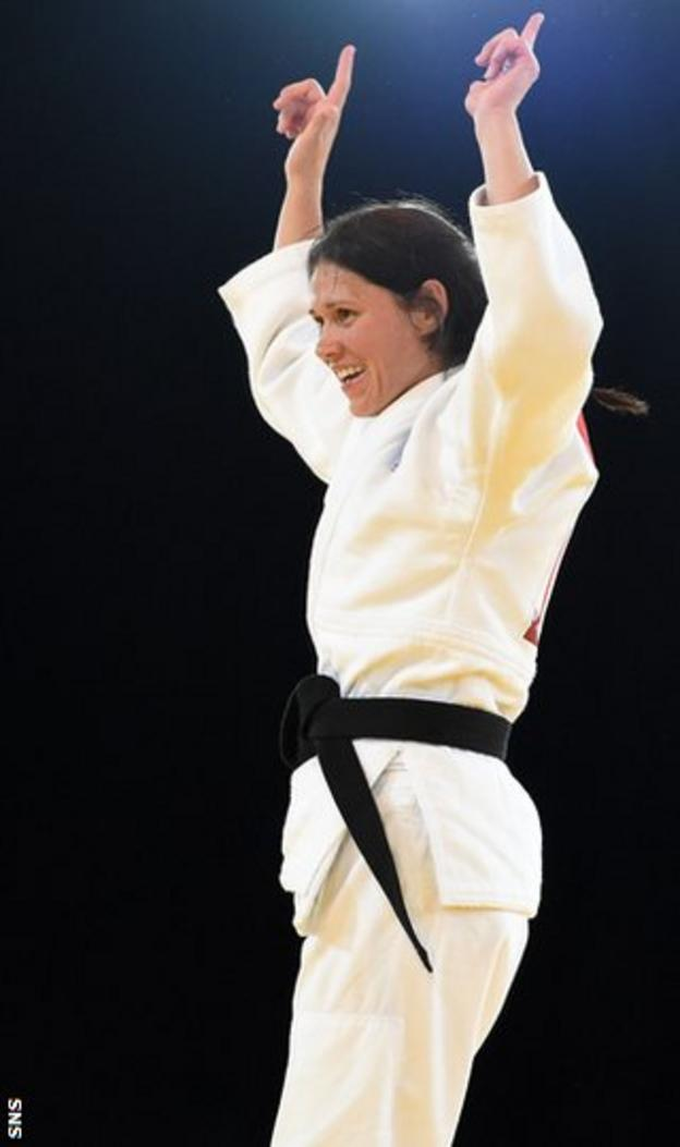 Team Scotland's Louise Renicks celebrates her gold medal win.