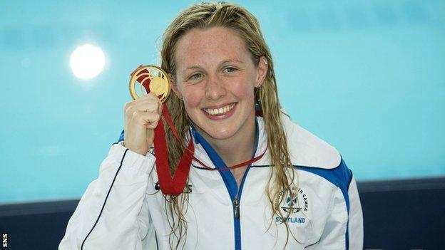 Team Scotland's Hannah Miley celebrates with her gold medal