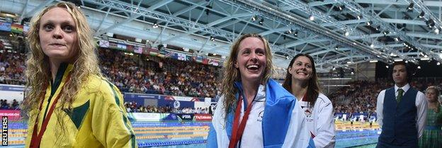 Hannah Miley celebrates her victory