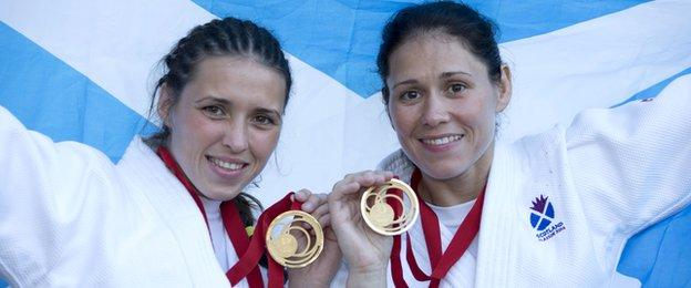 Kimberley and Louise Renicks celebrate their gold double