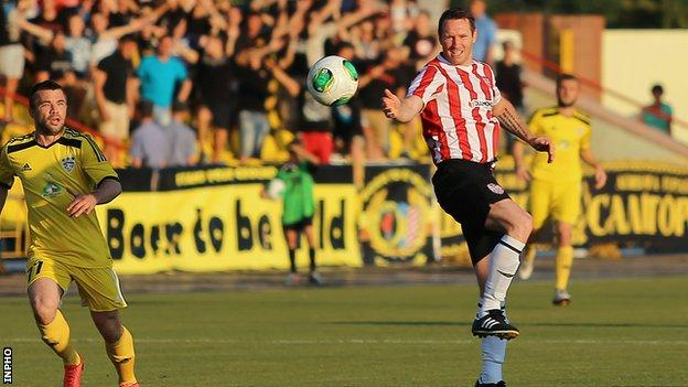 Derry City's Barry Molloy in action against Shakhtyor Soligorsk