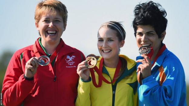 Elena Allen had to settle for silver in the women's skeet, losing out to Australia's Laura Coles.