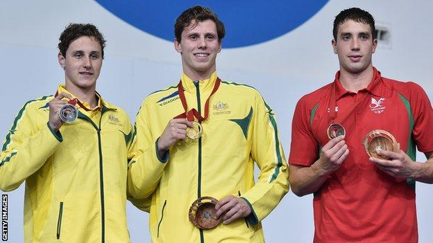 Calum Jarvis (right) with Thomas Fraser-Holmes and Cameron McEvoy