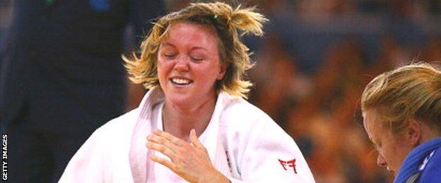 Megan Fletcher after beating New Zealand's Moira de Villiers in the women's -70kg