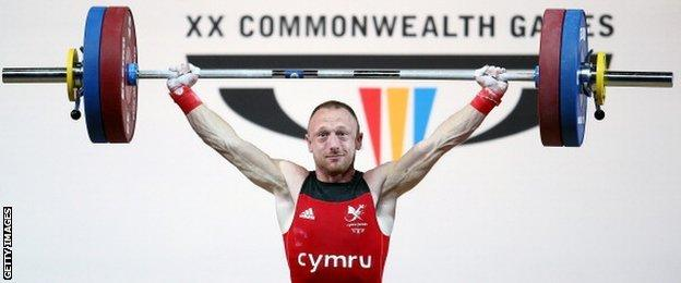 Gareth Evans of Wales makes a successful lift en route to finishing fifth
