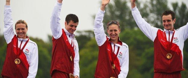England's Vicky Holland, Jonathan Brownlee, Jodie Stimpson and Alistair Brownlee