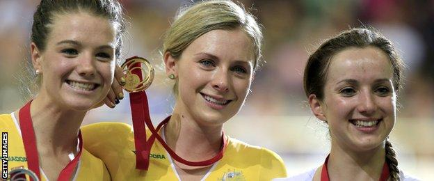Australia's gold medallist Annette Edmondson (centre), Australia's silver medallist Amy Cure (left) and Wales's bronze medal Elinor Barker (right)