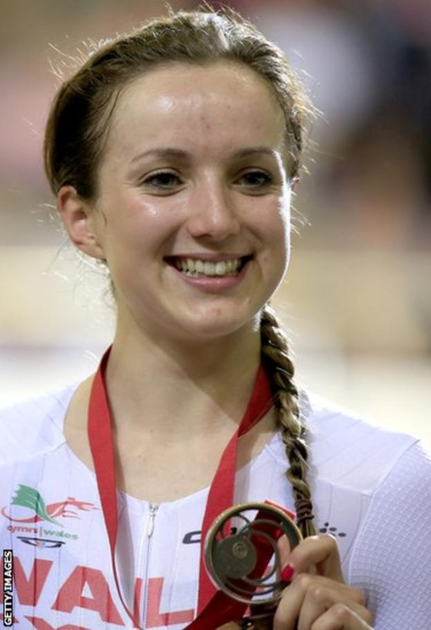 Cyclist Elinor Barker is all smiles after securing bronze in the women's 10km scratch race.