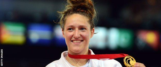 Natalie Powell with her gold medal for Wales at the 2014 Commonwealth Games