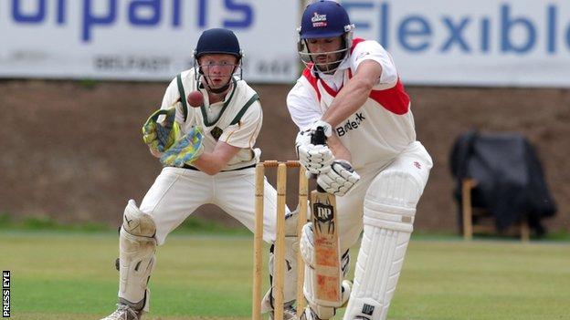 Waringstown batsman Shaheen Khan in action against North Down