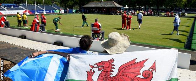 Fans attending Kelvingrove Lawn Bowls Centre at the 2014 Commonwealth Games