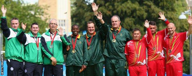 The medal winners from the bowling triples event at the Commonwealth Games.