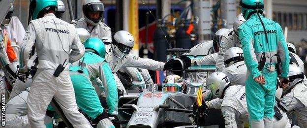 Lewis Hamilton stops in the pit during the Hungarian Grand Prix