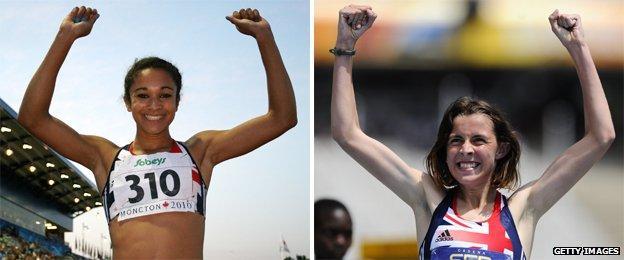 Jodie Williams and Jessica Judd celebrate at World Junior Championships