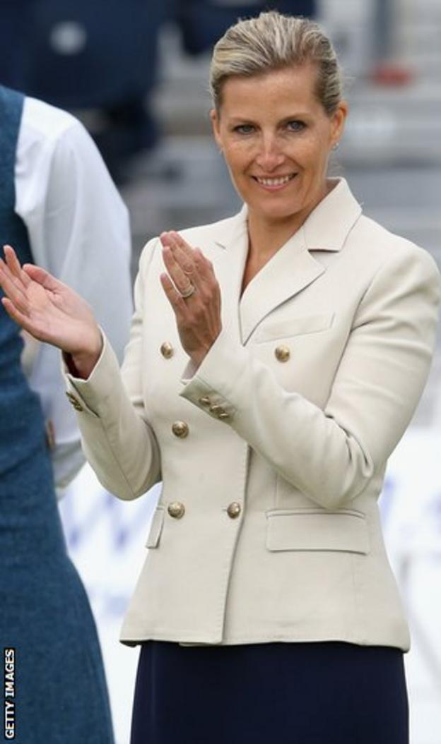 Sophie, Countess of Wessex, watches the bowls at Kelvingrove