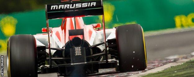 Marussia during qualifying at the Hungarian Hungaroring
