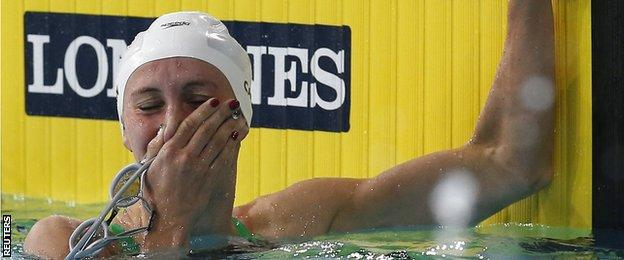 Carlin cannot hold back the tears as she wins the 800m freestyle
