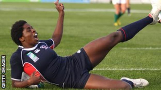 Vanesha McGee celebrates a try against Ireland in the 2010 World Cup