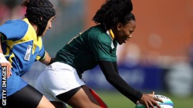 Phumeza Gadu claims the ball against Kazakhstan in the 2010 World Cup