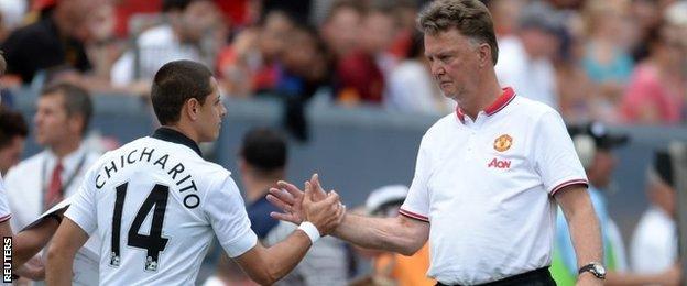 Javier Hernandez and Louis van Gaal