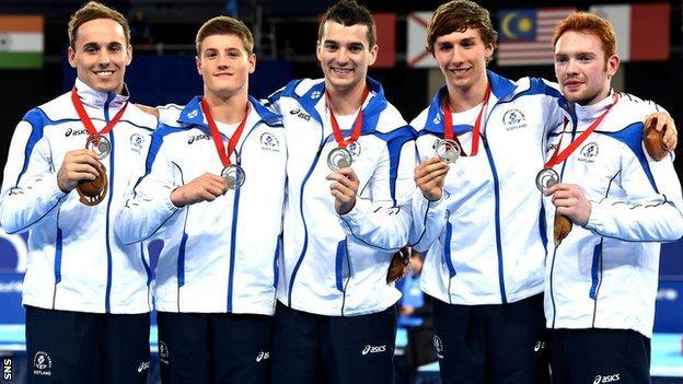 Scotland's Commonwealth silver-winning men's gymnastics team of Daniel Keatings, Frank Baines, Adam Cox, Liam Davie and Daniel Purvis