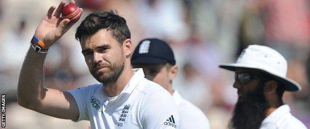 James Anderson celebrates his five-wicket haul