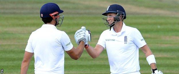 England's Alastair Cook and Joe Root