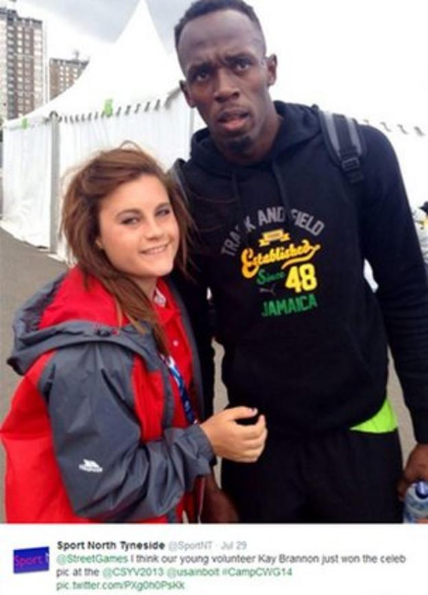 StreetGames participant Kay Brannon managed to get a selfie with Usain Bolt