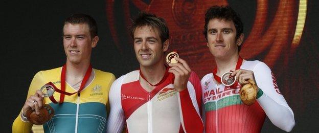 Rohan Dennis, Alex Dowsett and Geraint Thomas