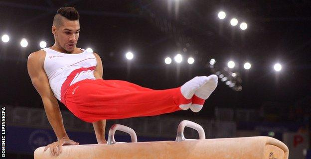 Smith in action during the pommel final